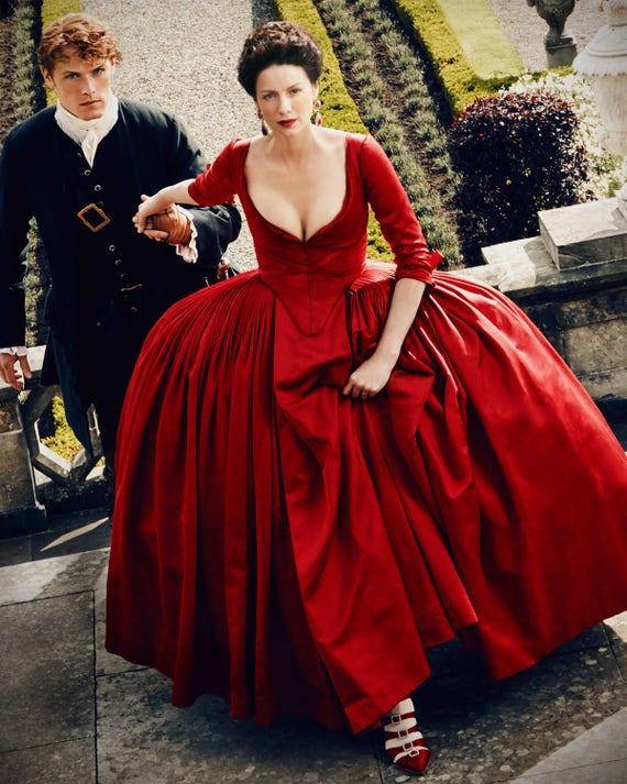 Outlander Claire red dress costume paris gown