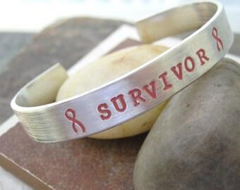 Survivor Bracelet, Breast Cancer Survivor, Breast Cancer Bracelet, Awareness Ribbon Bracelet, plus size available, 3/8 inch aluminum cuff
