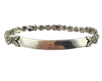 Flower I.D Bracelet     personalized  custom bangle garland silver gold daisy jewelry