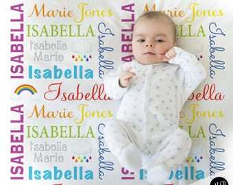 Rainbow baby blanket, personalized baby gift, rainbows baby blanket, personalized blanket, choose colors