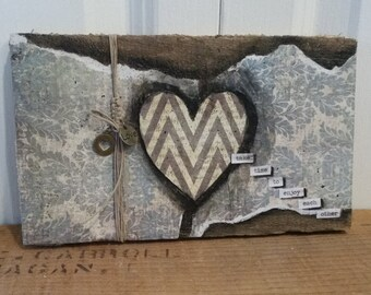 Take time to enjoy each other, pallet wood, gray/cream chevron heart, square knotted twine, charms, mixed media