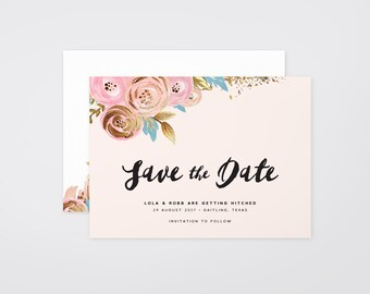The 'Cassandra' Romantic Watercolour Floral Save the Date Announcement (Printable)