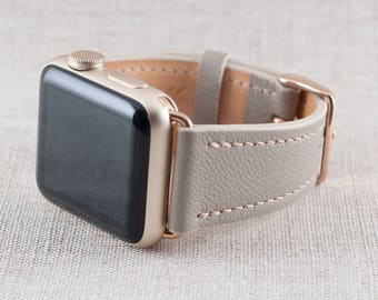 42MM Apple Watch Band-Chèvre Leather Taupe