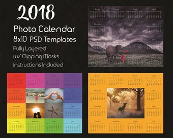 8x10 Photo Calendar Template 2018, Photoshop Template, Photoshop Calendar Templates, 2018 Calendar template, Photoshop