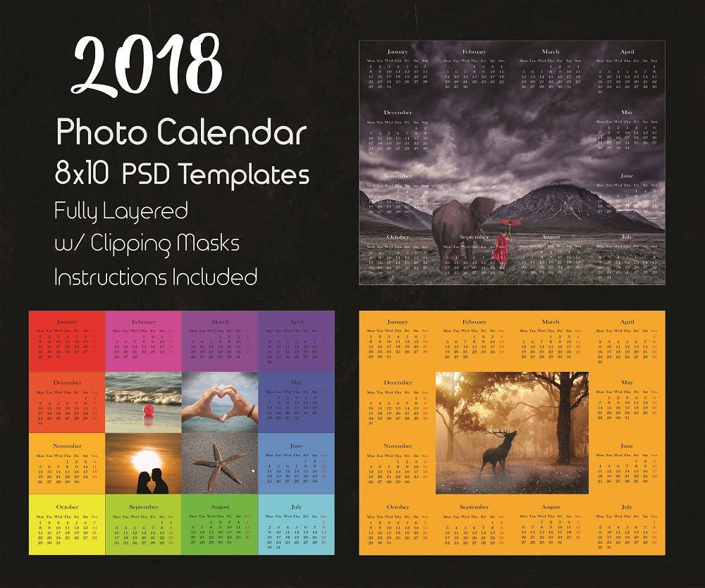 2018 Kalendervorlage Photoshop Photoshop-Kalender-Vorlagen
