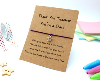 Teacher Wish Bracelet, Teacher Gifts, Wish Bracelets, Teacher Thank You Gifts, Gifts for Teachers, Teacher String Bracelet, Charm Bracelet