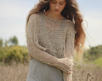 Light brown loose knit cropped sweater, brown beige cotton linen crop sweater, post apocalyptic crop top, thumb hole grunge cropped sweater
