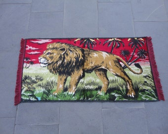 Lion illustrated Turkish wall rug,39 x 21 inches