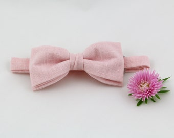 Pink Bow Tie for Men Wedding Bow Tie Blush Bow Tie Mens Bow Tie for Groom Pink Linen Bow Tie Groomsmen Gift for Men Womens Bow Tie Pastel