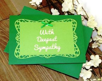 Handmade Sympathy Card, Condolences, Green Ivory, Bow, With Deepest Sympathy, Blank Inside, Free US Shipping
