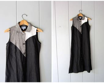 90s LINEN Dress Long Black Grey White Colorblock Minimal Sun Dress Button Down Modern Vintage Frock Artsy Casual Dress Womens XS