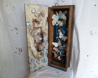 SALE Assemblage vintage wooden box with beautiful moths The Moth