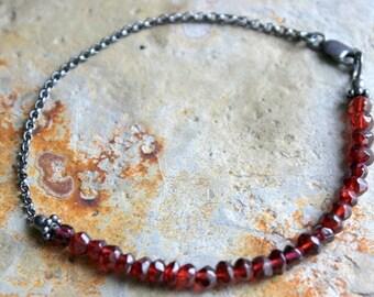 Garnet, Sterling Silver Bracelet, Oxidized Patina