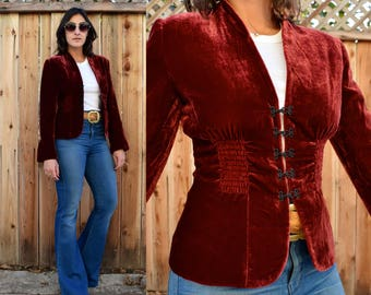 Vintage 90s Maroon WINE VELVET Jacket XS S