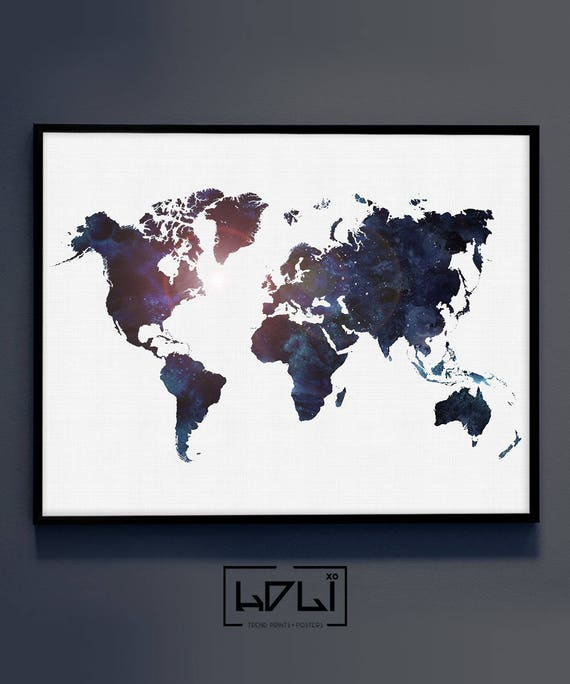 Large world map print watercolor world map poster art navy large world map print watercolor world map poster art navy blue wall art printable world map world travel map of the world digital map gumiabroncs Image collections