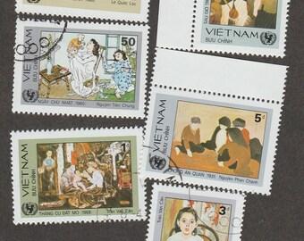 Viet Nam Used Postage Stamps National Paintings Miniature Art