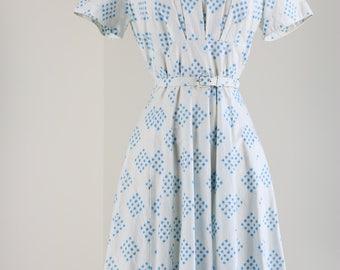 """1950s Dress - Vintage Fit And Flare Dress - Med 31"""" Waist - White Blue Floral - Cotton - Summer Spring - Short Sleeve - Belted - Mad Men"""