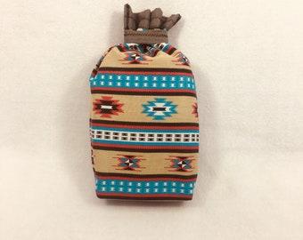Zero Waste Gift, Reusable Gift Bag, Native American Bag, Father's Day, Southwestern Bag, Cloth Gift Bag, 10 x 9, Upcycled, Birthday Gift Bag