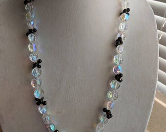Sparkly Crystal Beaded Necklace, Aurora Borealis and clustered black beads