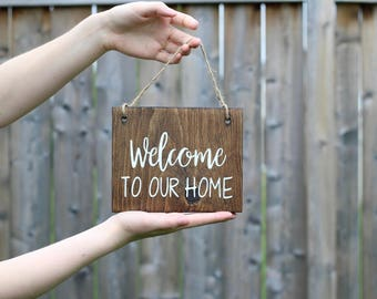 Welcome to our Home Sign - Wood Wall Art - Rustic Wood Signs - Custom Wood Signs - Rustic Welcome Sign - Wood Welcome Sign - Wood Signs