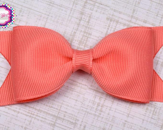 "Coral Tuxedo Bow  ~ 3.5"" Hairbow ~ Small Hair Bow ~ Girls Barrette ~ Toddler Bow ~ Baby Hair Bow ~ Hair Clip ~ Girls Hair Bow"