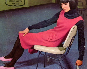 Patons Style Knits Vol 25 Womens 60s Vintage Knitting Patterns Booklet Mod Suits Dresses Sweaters & Cardigans Originals not PDF
