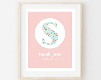 Printable Personalized Nursery Wall Art. Floral Initial Design.