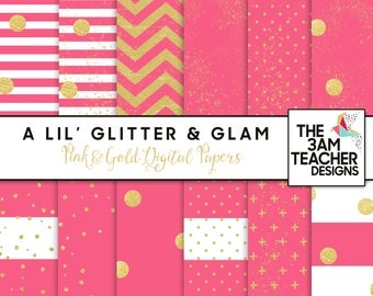 Pink and Gold Digital Papers Set