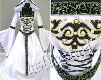 Medieval wedding dress S-M-L 12-14-16 gothIC witch vampire renaissance costume handfasting wicca victorian LARP lotr carnival party elven