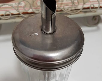 Vintage glass  Sugar dispenser castor stailess silver lid