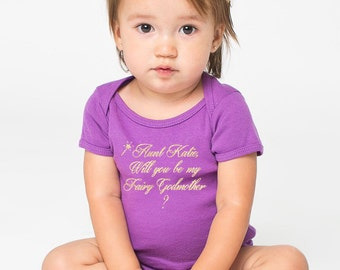 will you be my fairy godmother onesie or t-shirt - will you be my godmother - baby baptism, godparents, godmother, godfather (gold glitter)