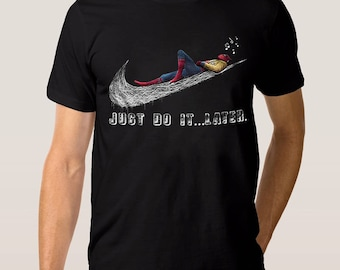 Spider-Man Just Do It Later T-shirt Tom Holland Homecoming Tee, Men's Women's All Sizes