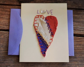 Primitive Heart Card, Vintage Cutter Crazy Quilt Valentines Day Everyday Greeting Blank Note Card, Wedding Anniversary Card itsyourcountry