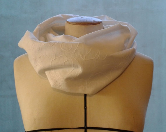 """White cotton woman SNOOD, scarf veil of white cotton, embroidered flowers on one side. Sewn in """"tube"""", two laps. Spring Snood"""