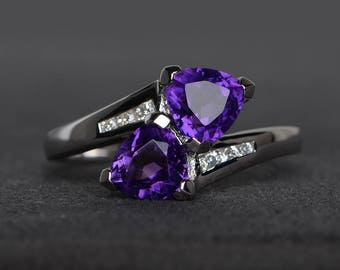 promise ring natural amethyst ring trillion cut purple gemstone sterling silver ring February birthstone