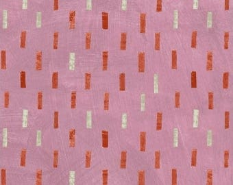 Dreamer by Carrie Bloomston for Windham Fabrics - Full or Half Yard Orange and Natural Dashes on Pink Modern