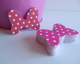 35 Minnie Mouse Bows - 1.5 inch - Cardstock Die Cuts for Scrapbooking, Cupcake Toppers, Tags
