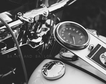 Harley Gas Tank and Speedometer Closeup Black and Whtie FineArt Print,Wall Decor, Wall Art, Gift Ideas, Home Decor, Photography