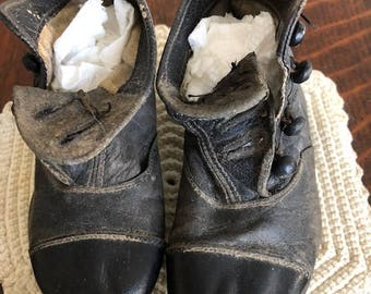 Antique Collection of Victorian Leather Baby Shoes. Black, White and Grey.  Three Pairs with Buttons and One with Laces.