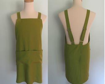Olive Green Linen Apron, Japanese Apron with Pockets, No Tie Apron, Oasis Linen, Men's Crossback Apron, Adjustable, Crisscross Apron