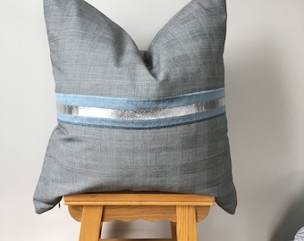 Grey woolen Square cushion with blue silk and Silver leather detailing.Bedroom decor Cushion.Fathers day cushion,Just for Him.