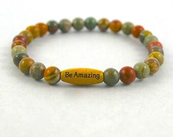 PICASSO JASPER Earth Stone Bracelet - Natural Earth Gemstone Bracelet - Stacking Bracelet - Choose Word, Under 20 , Shop Canada WB5