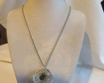 """18"""" Bird's Nest Necklace on Silver Chain, Necklace, Brid, Nest, Silver Chain"""