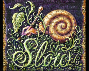 Miniature snail painting, slow and steady oddity with snail shell & human hand, painting detailed leafy foliage, script lettering, slowpoke