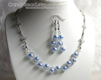 Swarovski Crystal Necklace And Earrings, Aquamarine Blue Pearl Set By CandyBead
