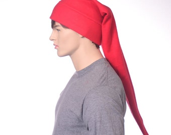 Red Elf Hat Stocking Cap Hat Extra Long Red Pointed Hat Adult Women Man 3 Foot Long Beanie Warm Winter Fleece