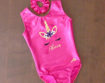 Unicorn head gymnastics leotard personalized with name applique in glitter ~ size 2 to 10