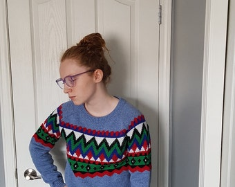 Vintage Sweater/Retro/Women's/Fashion/Blue/Aztec/Green/Red/White/70s/Patterned/Designed/Fitted/Clothing/Clothes
