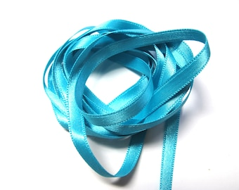 TURQUOISE SILK SATIN RIBBON DOUBLE SIDED 6 MILLIMETERS
