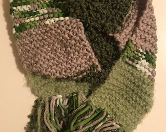 Hand knit green scarf